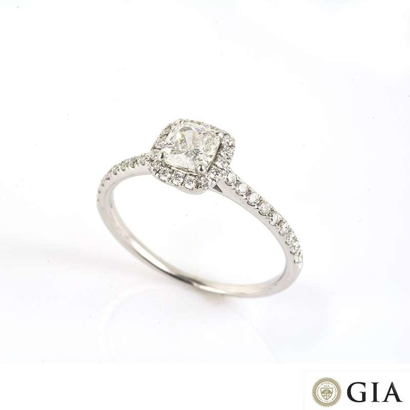 18k White Gold Cushion Cut Diamond Ring 0.54ct F/VS2